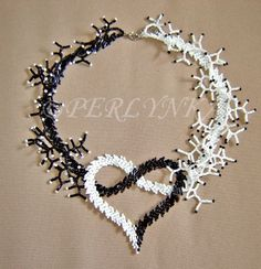 Beaded heart necklace inspiration black and white