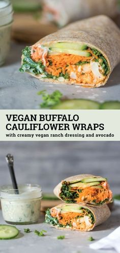 Vegan Buffalo Cauliflower Wraps Have you ever tried buffalo cauliflower wings? Try them in these vegan buffalo cauliflower wraps with vegan ranch dressing. They're easy to make and can be made gluten-free. This recipe is perfect for a healthy vegan lunch Veggie Recipes, Whole Food Recipes, Cooking Recipes, Qinuoa Recipes, Plant Based Dinner Recipes, Recipies, Cooking Games, Cooking Classes, Salmon Recipes