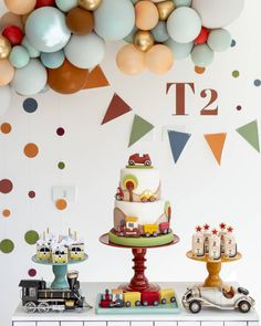 Baby Birthday Decorations, Kids Party Decorations, Birthday Party Themes, Disney Birthday, Third Birthday, Transportation Party, Dinosaur Birthday Cakes, Baby Shower Parties, First Birthdays