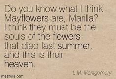 Do you know what I think Mayflowers are, Marilla