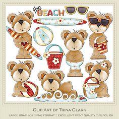 Beach Bears Teddy Bear Clip Art by Trina Walker by marlodeedesigns