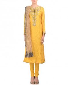 Embroidered Poppy Yellow Suit