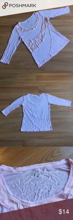 """beautiful soft & flowy top from NY&Co. Small beautiful soft and flowy dressy top from New York & Company. Size small. Body is 100% rayon. Trim is 100% polyester. Hand wash. Wrinkled but in great condition. Pit to pit 18"""". Hem opening 18"""". Length 21.5"""". 3/4 sleeves (16"""" shoulder to cuff). No trades or holds. Please use offer button to make an offer. New York & Company Tops Blouses"""