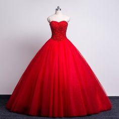 Real Photo Red Wedding Dresses 2016 New Elegant Puffy Tulle Vestido De Noiva Louisvuigon Women Long Boho Stone Bridal Gowns