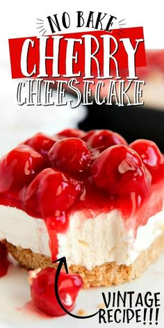 These no-bake cherry cheesecake bars are a classic crowd-pleaser with a graham cracker crust, easy cheesecake filling, and cherry pie topping. # no bake Desserts No Bake Cherry Cheesecake No Bake Cherry Cheesecake, No Bake Cheesecake Filling, Baked Cheesecake Recipe, Cheesecake Desserts, Classic Cheesecake, Healthy Cheesecake, Raspberry Cheesecake, No Bake Cheescake, Philadelphia No Bake Cheesecake