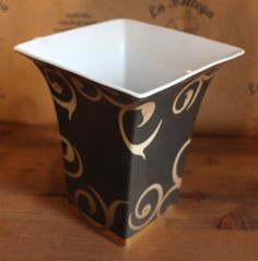 Vaso quadrato oro nero bianco centrotavola svuotatasche 17 cm ROSENTHAL