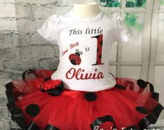 First birthday ladybug outfit by CadyJeanPeekABoo on Etsy