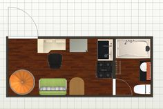 design for 1st floor tiny house on wheels with spiral staircase
