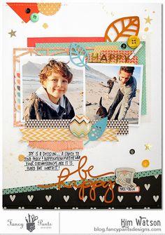 Be Happy #scrapbookpage by #kimwatson