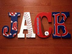 Custom Personalized Hand-Painted BOSTON RED SOX Wood Letters.. Priced Per Letter