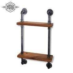 Industrial Irons, Iron Pipe, Wood Sizes, Wood Storage, Bathroom Shelves, Wood Colors, Vintage Walls, Vintage Kitchen, Wardrobe Rack