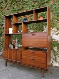 Image of Gorgeous Mid Century Walnut Room Divider/ Wall Unit