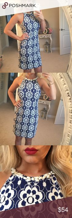 💙💍 NINE WEST - Blue and white dress 💙💍 This dress was worn to a wedding one time. Great condition. Has gorgeous beading details across the top. Great length and a lose comfortable fit Nine West Dresses Midi