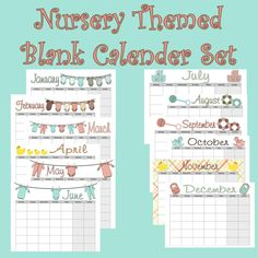 Blank Nursery Themed Calender set Instant  by PurposelyDesigned, $10.00