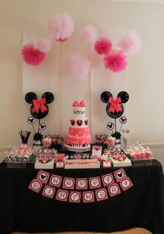 Hostess with the Mostess® - Pink + Zebra Print Minnie Mouse Inspired Birthday##