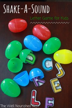 ABC games for kids - Such a fun game for learning letter sounds! Shake a sound! The Well Nourished Nest