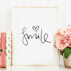 Smile, Poster A word that puts a smile on your face. Minimalistic hand lettering poster in black and white design by Tales by Jen. Art Prints Quotes, Fine Art Prints, Kunst Poster, Typography Alphabet, Poster Design, Quote Posters, Art Logo, Poster Prints, Wall Prints