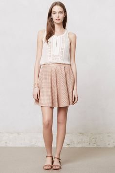 Astral Swing Skirt-- Anthropologie *Sale*  Perforated pattern vegan leather, side zip. (Comes in nude, taupe, or wine)