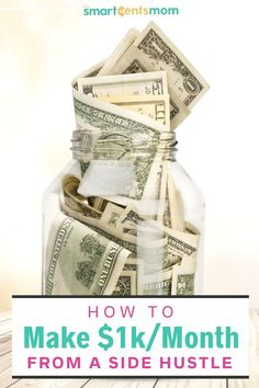 How to make $1,000 a month from a side hustle today! Check out these tips to make extra money today.   Smart Cents Mom #Sidehustle #makemoney Earn Money Fast, Earn Money From Home, Make Money Blogging, Way To Make Money, Make Money Online, Online Side Jobs, Best Online Jobs, Earn Extra Cash, Extra Money