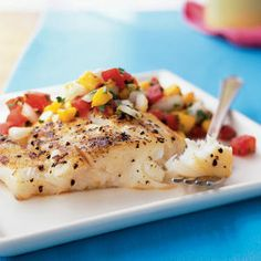 40 Top-Rated Grill Recipes | Grilled Halibut and Fresh Mango Salsa | CookingLight.com
