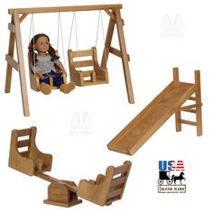 COMPLETE DOLL PLAYGROUND Swings ♦ SeeSaw ♦ Sliding Board ♦ Fine Handmade Wood Toy Set