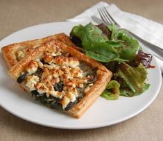 Spinach, feta and pine nut puff pastry tarts served with a mixed leaf salad and a balsamic vinaigrette.