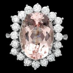 Estate 14kt White Gold, Pink Morganite and Diamond Cocktail Ring * Looking for a stunning alternative to a traditional engagement ring? * Katie Callahan & Co.