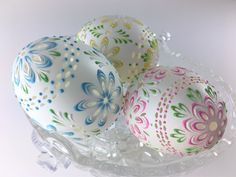 Carved and Wax Embossed Set of 3 Pysanky Eggs Easter Eggs