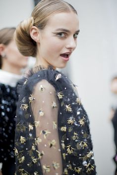 Backstage @ Chanel Haute Couture. Graphic eyeliner