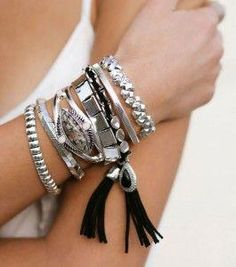 794d258f3bb Stacked Silver Bracelets for a Luxe Bohemian look. Samantha Wills