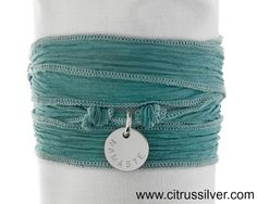 Turquoise silk ribbon to wrap around your wrist (or ankle) stamped with the word that you want to be mindful of..what's your word?