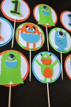 Monster Cupcake Toppers-Set of 12