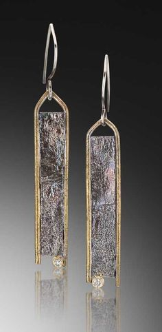 reticulated silver jewelry | Lean, Earrings, 18K gold bezel set diamonds ( .14 cts TW), Reticulated ...