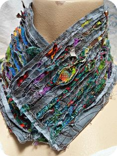 Artful Blasphemy OOAK Coloring Outside the Lines Deconstructed Collar Fiber Wearable Art Quilt Necklace Neckwear Gorgeous Boho Gypsy Sewing Art, Sewing Crafts, Sewing Patterns, Creative Textiles, Textiles Techniques, Jumpsuit Pattern, Fabric Manipulation, Neck Warmer, Refashion