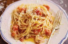 Antonio Carluccio's pasta with a chilli, bacon and tomato sauce