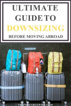Planning your international move? If you downsize before moving abroad, you will save tons of money on shipping costs. Use my ultimate guide to downsizing before moving abroad to bring everything you own on the plane. Moving To Ireland, Moving To Italy, Moving To The Uk, Moving Tips, Moving Hacks, Moving Checklist, Packing Tips For Vacation, Packing To Move, Vacation Travel