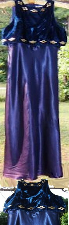 Lovely 1990's Gown with Velvet Bodice and Satin Skirt in Royal Blue