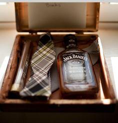 Gift for him...Favorite liquor. Tie & Cigar.