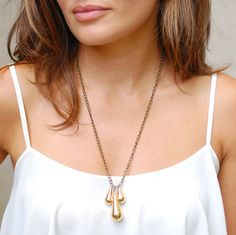 Gold Tri-Drop Pendent Necklace, simple, elegant, minimalist
