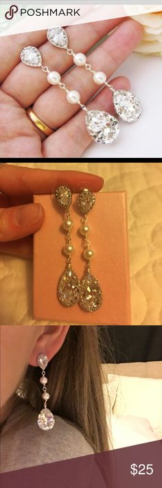 Swarovski pearl drop earrings Bought for wedding option but never wore. Brand new condition. Jewelry Earrings