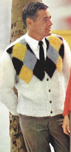 Vintage Knitting PATTERN to make Men's Mohair Argyle Sweater Cardigan MensMohairArgyle
