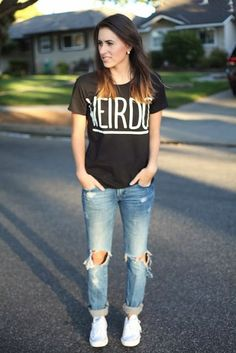 Graphic tee, ripped jeans, & sneakers. | Fashion World