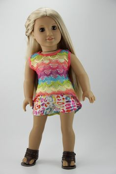 """American Girl doll clothes - High low tank top outfit (fits 18"""" doll) (450multi)"""