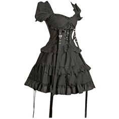 Partiss Women's Black Cotton Gothic Lolita One-Piece Dress ($68) ❤ liked on Polyvore featuring dresses, goth dresses, gothic clothing dresses, gothic lolita dress, cotton dresses and cotton cocktail dress