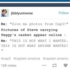 "THIS IS SO TRUE!!! By ""photos from Cap3"" we meant SHOW US BUCKY AND STEVE REUNITING AND HUGGING AND LAUGHING AND BEING HAPPY AND WHOLE HUMAN BEINGS AGAIN!!!"