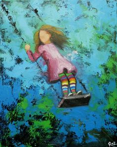 Swing painting 95 16x20 inch portrait original oil painting by Roz. $170.00, via Etsy.