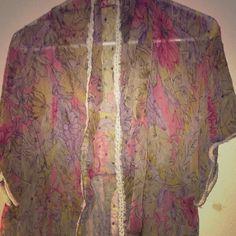 Floral Kimono Sheer, floral print, kimono, white accents, size S-L, used. Vintage Jackets & Coats
