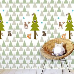 Forest Animal Friends Removable Wallpaper by pinknbluebaby on Etsy, $38.00