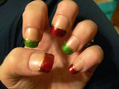 Green and Red Glitter French Tip Nails