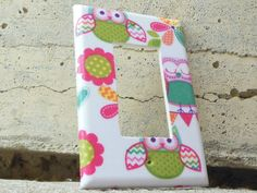 Owls and Flowers Rocker / Decora / Dimmer / GCFI Light Switch Plate Cover by IamTamCreates on Etsy